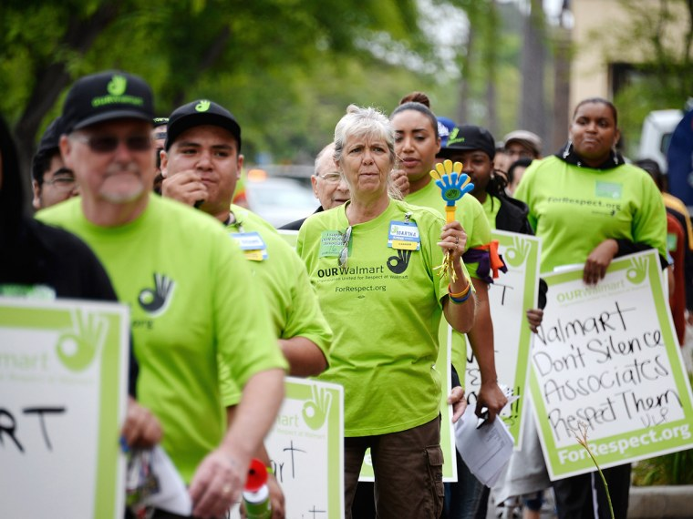 Walmart Workers Begin Bus Rally Heading To Protest At Company's Annual Meeting