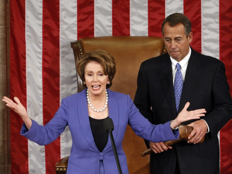 Image: Democratic leader Pelosi introduces Speaker of the House Boehner after Boehner's re-election during the 113th Congress in the Capitol in Washington