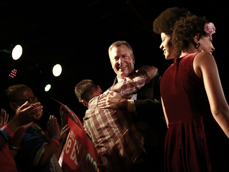 Democratic candidate for New York City mayor Bill de Blasio celebrates with supporters after his mayoral primary results party in New York