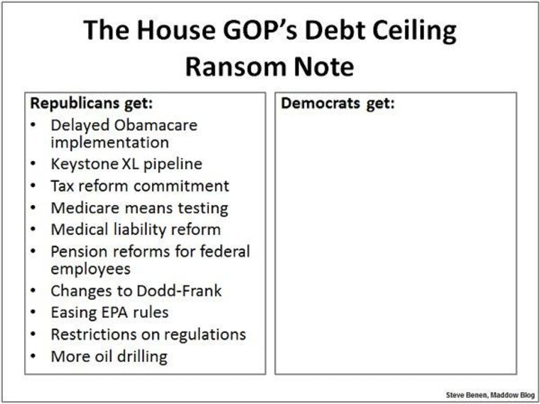 A debt-ceiling ransom note takes shape