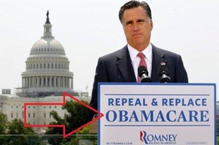 The arrow is intended to help jar Jim DeMint's memory.