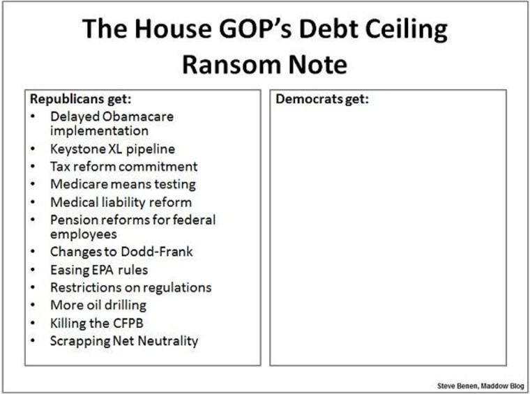 GOP ransom note has plenty of demands, not enough votes