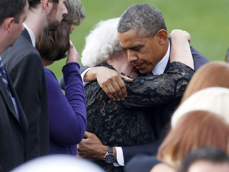 Barack Obama Comforts Family- Navy Yard- 09/22/13