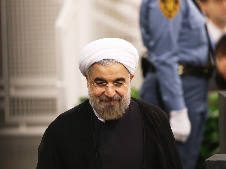 Iranian President Hassan Rouhani departs after addressing the U.N. General Assembly