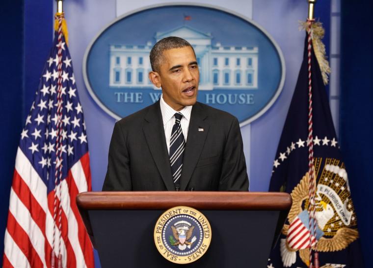 President Obama Makes Statement In Brady Briefing Room