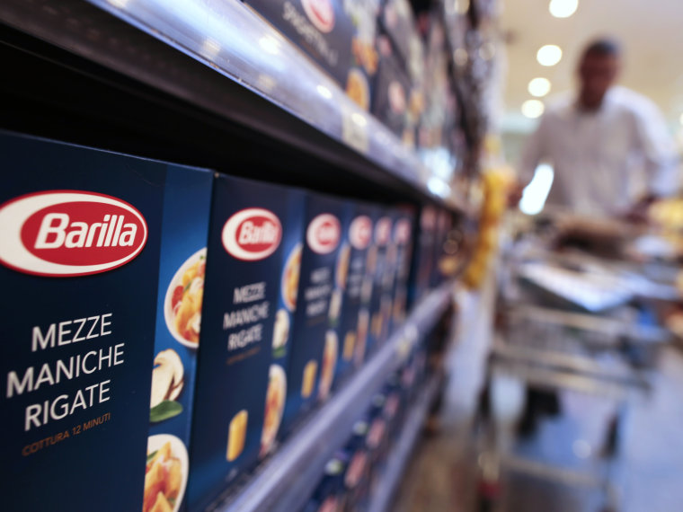 Packs of Barilla pasta are seen in a supermarket in Rome