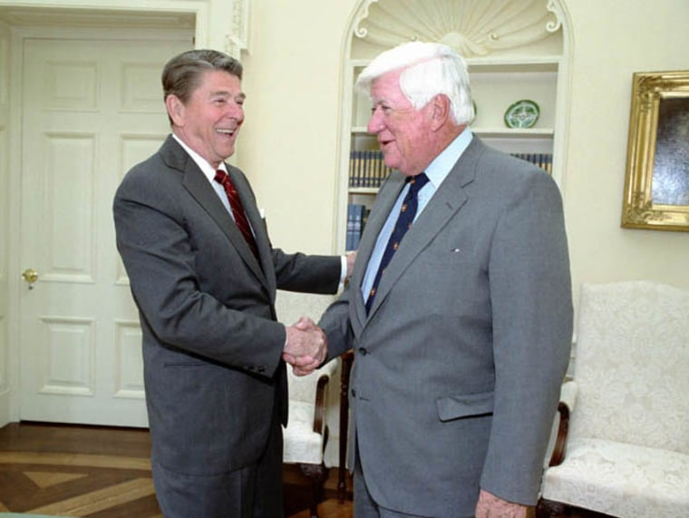 President Reagan having lunch with Tip O'Niell