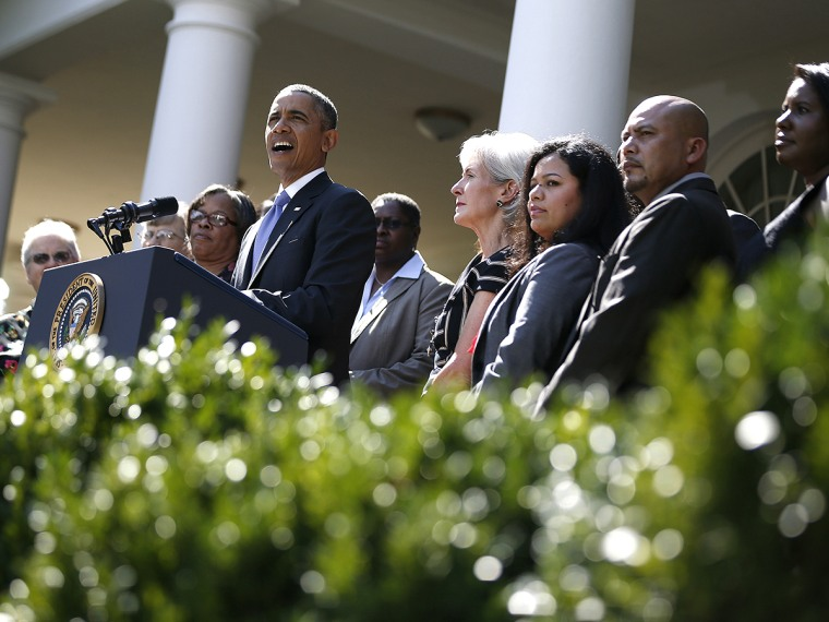 U.S. President Barack Obama delivers remarks alongside Americans the White House says will benefit from the opening of health insurance marketplaces under the Affordable Care Act, in the Rose Garden of the White House in Washington