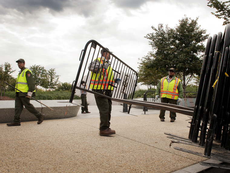 US Park Rangers place barricades in front of the Martin Luther King, Jr. Memorial