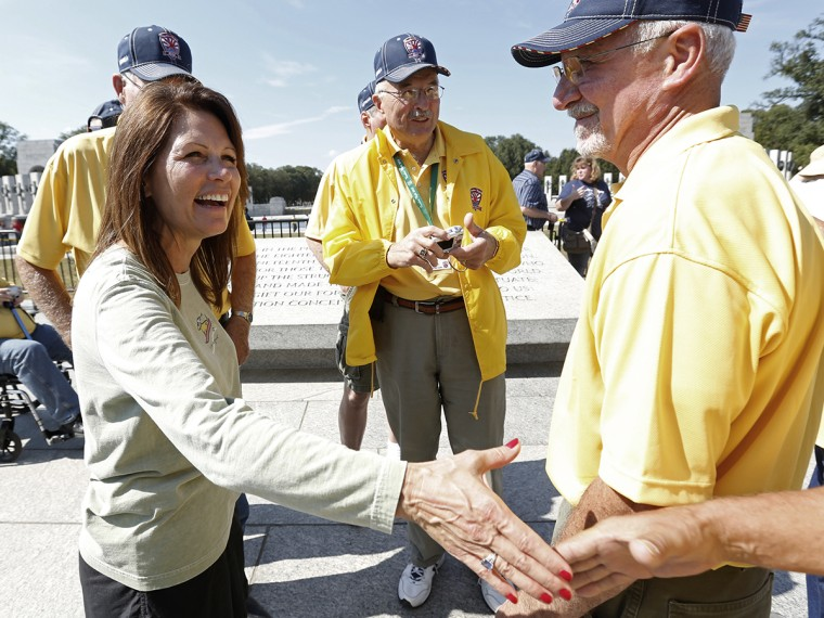 Michele Bachmann greets veterans at the World War Two Memorial in Washington
