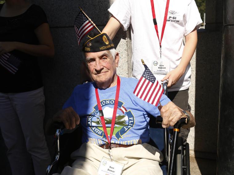 Veteran Ken Bonar tours the World War Two Memorial in Washington