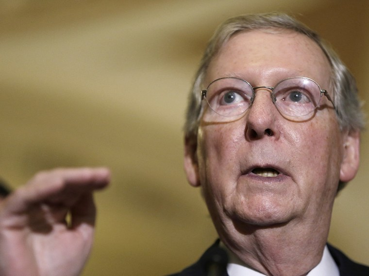 Senate Minority Leader McConnell speaks to reporters at U.S. Capitol in Washington