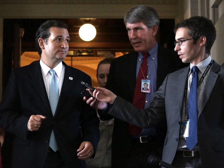 Sen. Ted Cruz (R-TX) Pulls All Nighter Speaking In Congress Advocating The Defunding Of Affordable Health Care Act