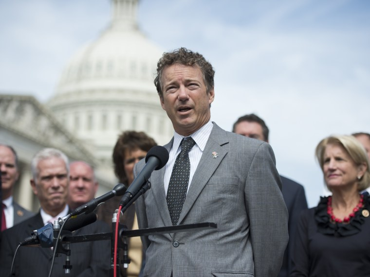 Sen. Rand Paul, R-Ky., speaks at the House Triangle during Coal Caucus' news conference.