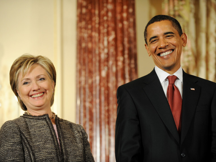 Image: FILE: Obama And Hillary Clinton Joint Interview Airs On 60 Minutes Obama, Biden, Clinton, Holbrooke And Mitchell At The State Department