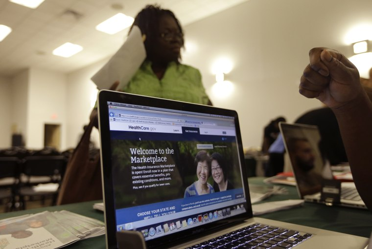 In this Thursday, Oct. 3, 2013 photo, a computer screen shows a website run by the federal government where people can enroll for health care exchanges