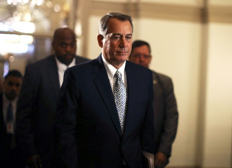 House Speaker John Boehner arrives for work at the U.S. Capitol, October 7, 2013 in Washington, DC.