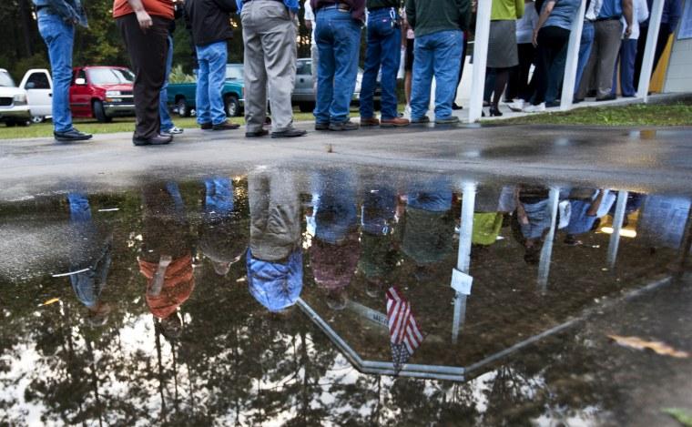 People line up to vote on November 6, 2012 in Crawfordville, Florida.