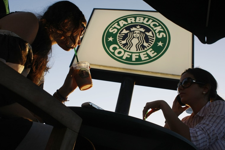 Customers at a Starbucks in Miami
