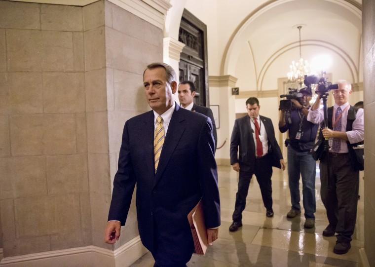 House Speaker John Boehner of Ohio arrives on Capitol Hill in Washington, Wednesday, Oct. 9, 2013.