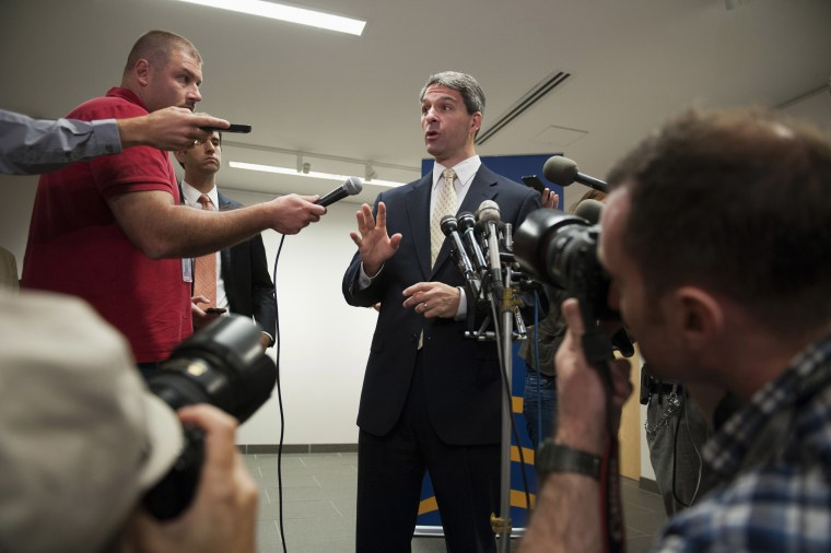 Virginia Republican gubernatorial candidate Ken Cuccinelli speaks with reporters following his address to the Virginia Energy and Opportunity Forum in Arlington, Va., Thursday, Aug. 29, 2013.