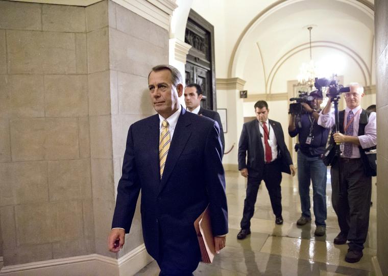 House Speaker John Boehner of Ohio arrives on Capitol Hill in Washington on Wednesday, Oct. 9, 2013.