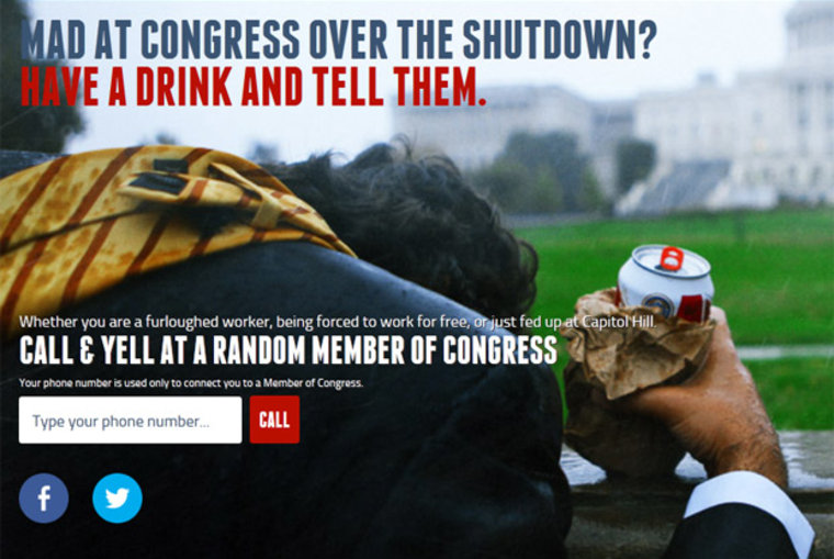 Screengrab of the website Drunkdialcongress.org.