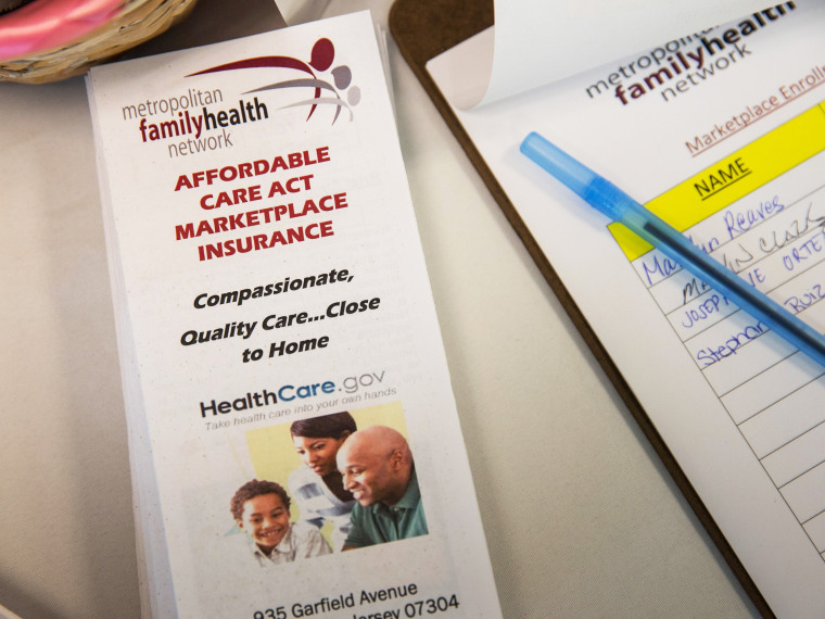 A pamphlet for the Affordable Care Act, better known as ObamaCare, sits on a table at a branch of the Metopolitan Family Health network, on October 3, 2013 in Jersey City, New Jersey.