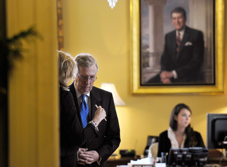 Senate Minority Leader Mitch McConnell in his office before a closed-door meeting of Senate Republicans on Capitol Hill, Wednesday, Oct. 9, 2013.