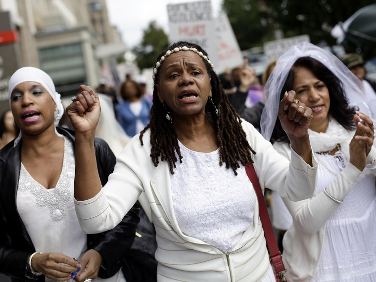 Women protest against domestic violence in New York