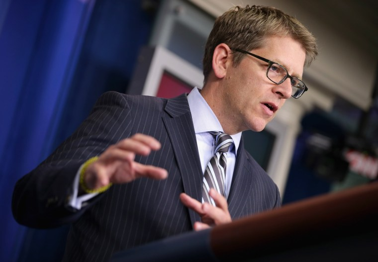 White House Press Secretary Jay Carney talks to reporters during the daily press briefing at the White House October 10, 2013 in Washington, DC.