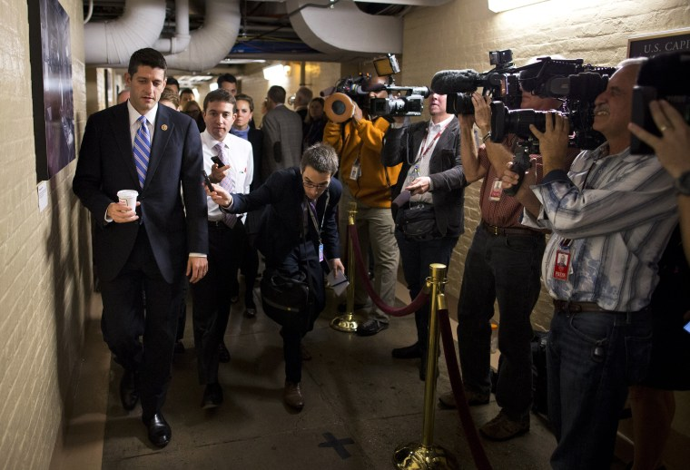 House Budget Committee chairman Rep. Paul Ryan walks to a House GOP meeting on Capitol Hill on Oct. 15, 2013 in Washington.