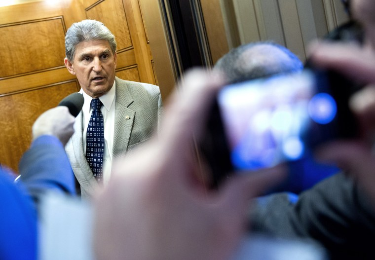 Senator Manchin speaks to reporters during the 14th day of the partial government shut down in Washington