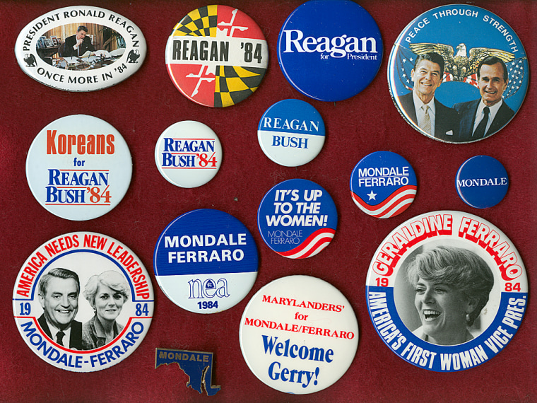 This photo provided by Al Feldstein shows buttons from the 1984 president election that represent both the Reagan-Bush and Mondale-Ferraro campaigns. More...
