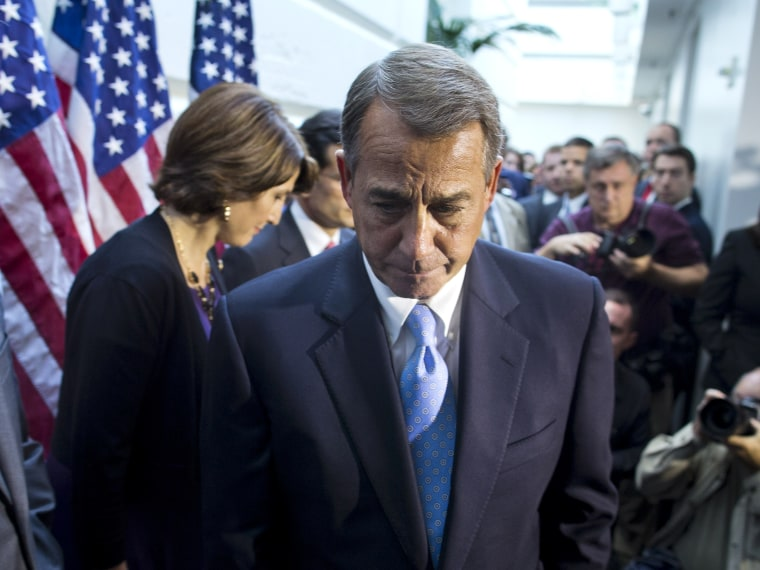 House Speaker John Boehner walks away from the microphone during a news conference after a House GOP meeting on Capitol Hill, Tuesday, Oct. 15, 2013, in Washington.