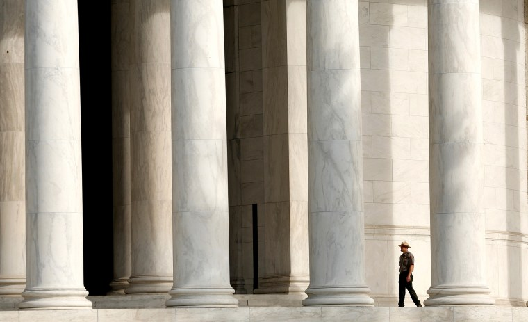 The Jefferson Memorial is re-opened as the government shutdown ends in Washington