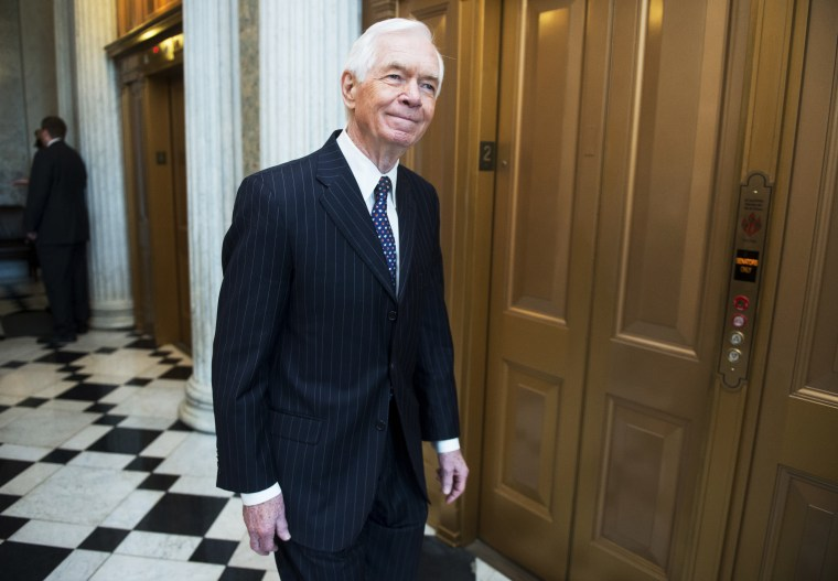 Sen. Thad Cochran arrives for the Senate Republicans' policy lunch in the Capitol on Tuesday, July 10, 2012.