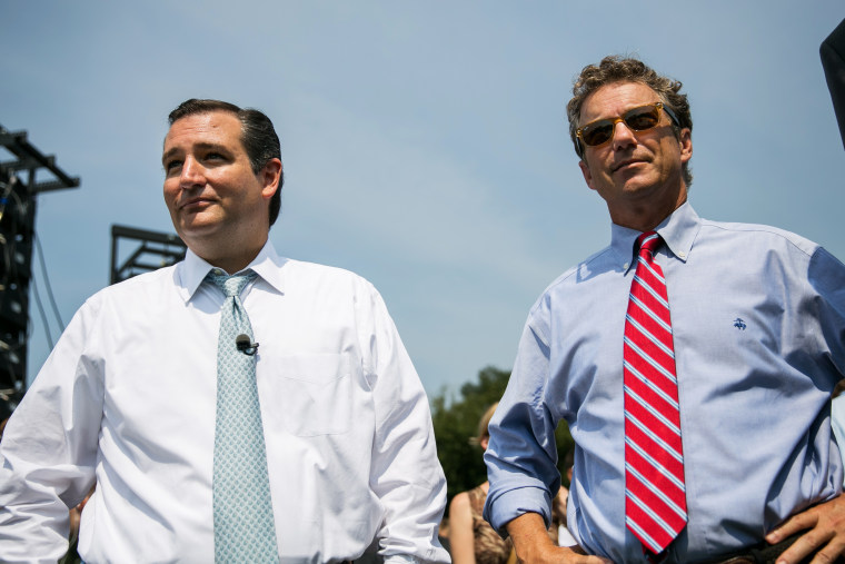 """U.S. Sen. Ted Cruz (R-TX) (L) and Sen. Rand Paul (R-KY) wait to speak at the \""""Exempt America from Obamacare\"""" rally,  on Capitol Hill on Sept. 10, 2013 in Washington, DC."""