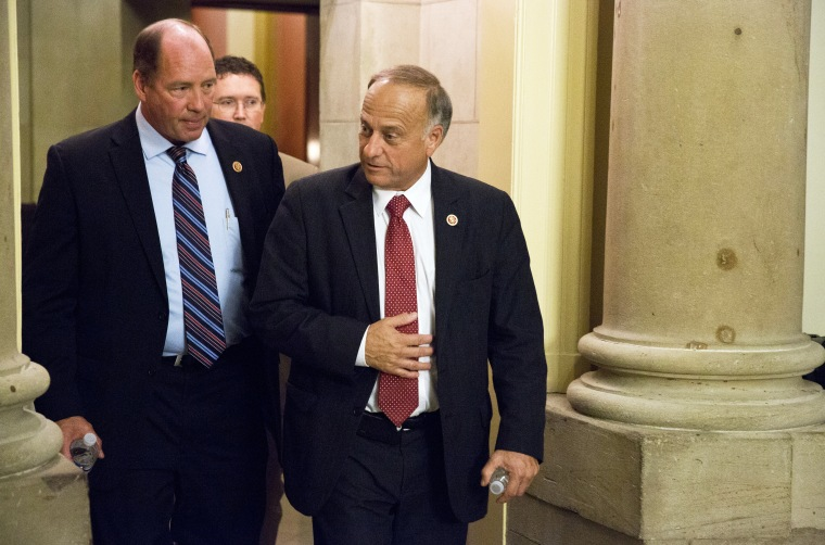 Representatives Ted Yoho and Steve King walk from a meeting with Speaker of the House John Boehner on Capitol Hill in Washington on October 15, 2013.
