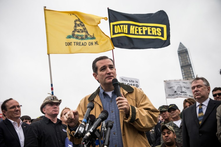 Sen. Ted Cruz speaks at a rally supported by military veterans, Tea Party activists and Republicans, regarding the government shutdown on October 13, 2013 in Washington, DC.