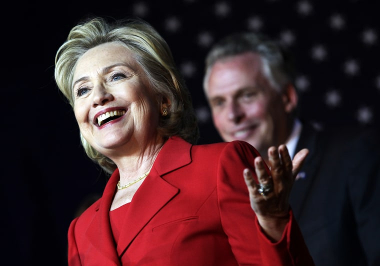 Former U.S. Secretary of State Hillary Clinton speaks at an event to endorse Virginia gubernatorial candidate and former DNC chairman Terry McAuliffe (R)