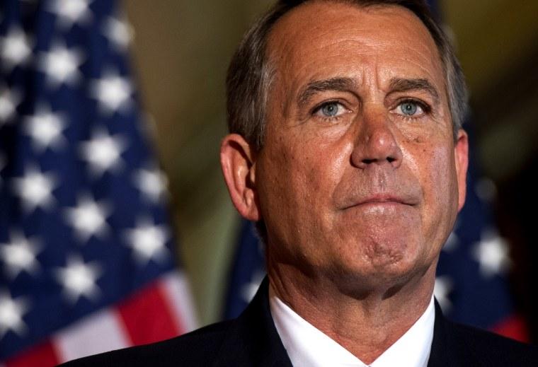 US Speaker of the House John Boehner speaks at the US Capitol in Washington, DC on Oct. 8, 2013.