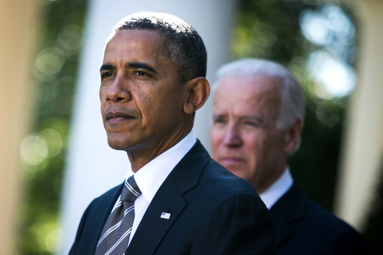 U.S. President Barack Obama and U.S. Vice President Joe Biden are seen during an event to introduce Jeh Johnson as the president's nominee to be the next Secretary of the Department of Homeland Security