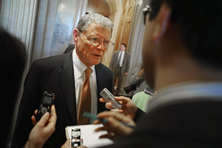 Senate Armed Service Committee ranking member Sen. James Inhofe talks with reporters at the U.S. Capitol February 14, 2013 in Washington, DC.