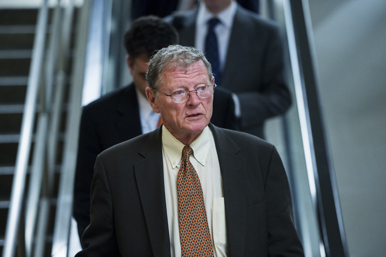 Sen. James Inhofe, R-Okla., leaves the Capitol following a vote on Tuesday, May 7, 2013.