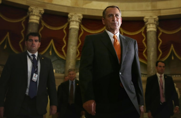 U.S. Speaker of the House Rep. John Boehner (R-OH) walks to the House Chamber for a vote on Oct. 16, 2013 on Capitol Hill in Washington, DC.