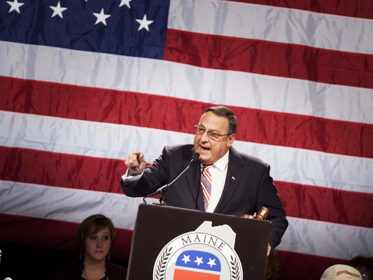 Gov. Paul LePage speaks at the Maine Republican Convention at the Augusta Civic Center in Augusta, Maine, Sunday, May 6, 2012.
