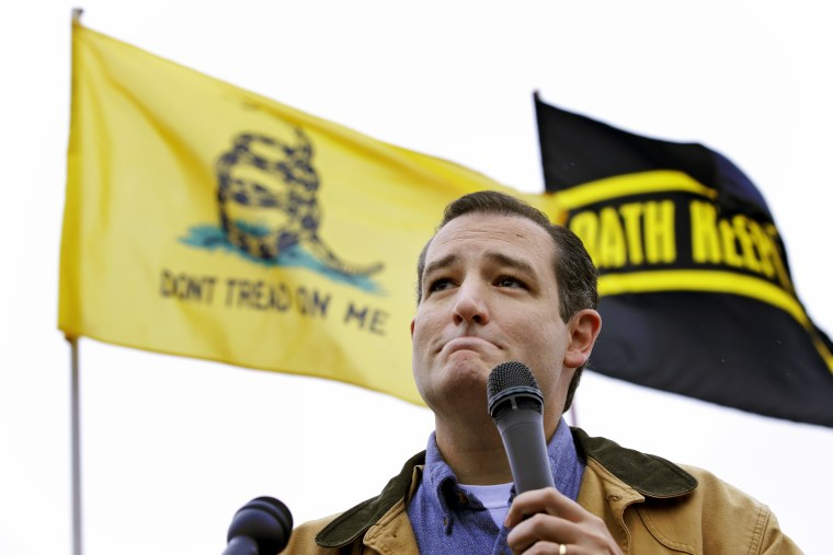 Tea Party Sen. Ted Cruz speaks at a rally at the World War II Memorial in Washington Sunday, Oct. 13, 2013.