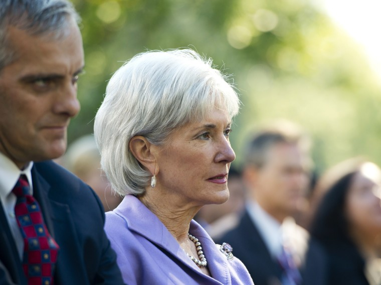 US Secretary of Health and Human Services Kathleen Sebelius attends an event with President Barack Obama to speak about the Affordable Care Act, October 21, 2013.