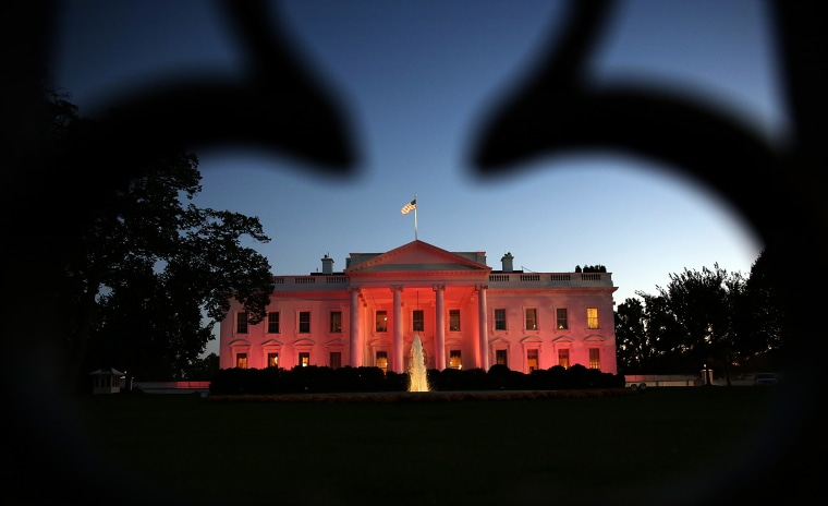 The White House is bathed in pink light for National Breast Cancer Awareness Month on Oct. 24, 2013 in Washington, DC.